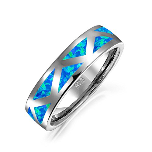 Bling Jewelry Inlaid Synthetic Blue Opal Rhodium Plated Silver Ring