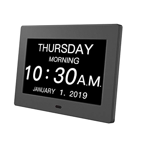 Day Clock Premium Digital Alarm Clock with Extra Large LCD Screen,Electronic Wall Clock & 5 Alarm Options,Perfect for Seniors
