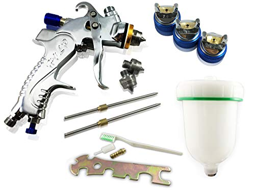Muzata HVLP Gravity Feed Air Spray Gun 3 Nozzles 1.4mm 1.7mm 2.0mm