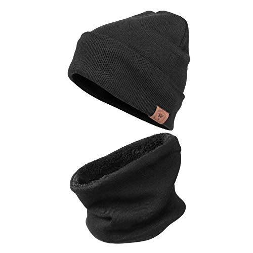 Winter Knit Hat Beanie - Warm Circle Loop Scarf for Men and Women (2 in 1,Black)