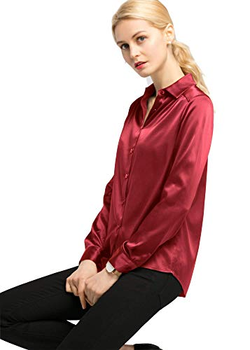 (LilySilk Silk Blouse Shirts Womens Long Sleeves Collared 19MM Natural Silk Charmeuse Office Wear Basic Simple Tops (Red, L/12))