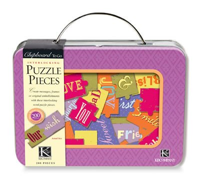 K&COMPANY Chipboard to Go Puzzle Pieces Tin, 200 Patterned and Solid Puzzle Pieces