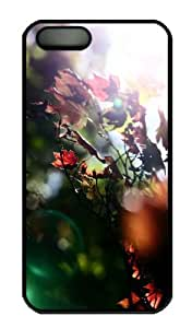 iPhone 5S Case - Customized Unique Design Red Maple Leaves New Fashion PC Black Hard