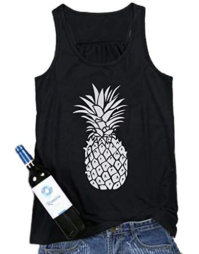 FAYALEQ Pineapple Print Tank Tops Women Cute Funny Fruit Graphic Summer Vacation Sleeveless Vest T-Shirt Casual Tee Size L (Black)