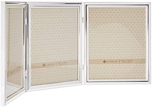 Lawrence Frames 510780T Silver Plated Double Bead Hinged Triple Picture Frame, 8 by 10-Inch