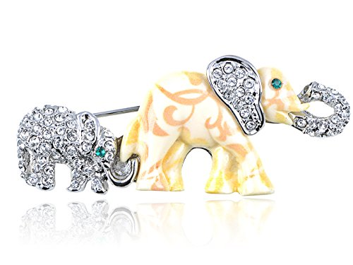 Alilang Swarovski Crystal Elements Mother Daughter Elephant Family Fashion Pin Brooch