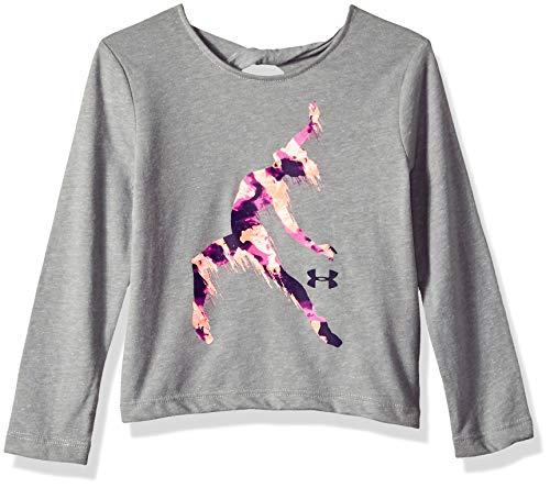 Under Armour Girls' Toddler Long Sleeve Graphic Tee, True Grey Heather Dancer, 4T (Dancer Long Sleeve Shirt)