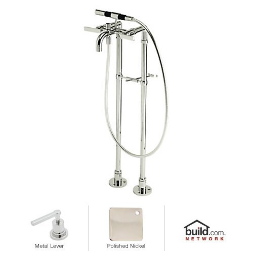 Rohl BA420L-PN Modern Floor Mount Exposed Tub Filler Faucet with Floor Legs & Hand, Polished Nickel ()