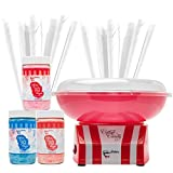 The Candery Cotton Candy Machine and Sugar Kit - Includes 50 Paper Cones & 3 Flavors & Sugar Scoop - Raspberry Blue, Strawberry, Vanilla - Kid-Friendly and Easy-to-Assemble