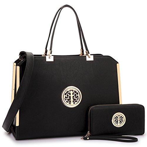 Dasein Women's Large Structured Designer Satchel Handbag Matching Wallet Work Bag With Shoulder Strap (Discount Designer Bags)
