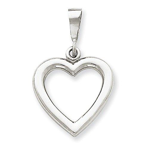 Or blanc poli Massif 14 Carats Pendentif en forme de cœur-Dimensions :  19,5 x 30.5 mm JewelryWeb -