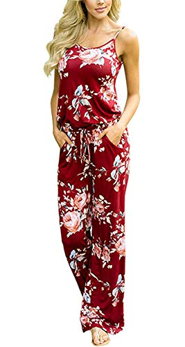 BLUETIME Women's Sleeveless Floral Print Rompers Waist Belted Wide Leg Long Pant Jumpsuit (M, Wine (Floral Belted Romper)