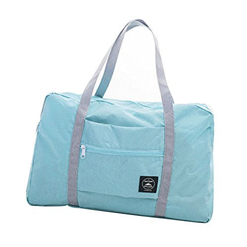 SoundsBeauty Foldable Large Luggage Bag, Waterproof Duffel Bag Travel Tote Bag Storage Bag Light Blue