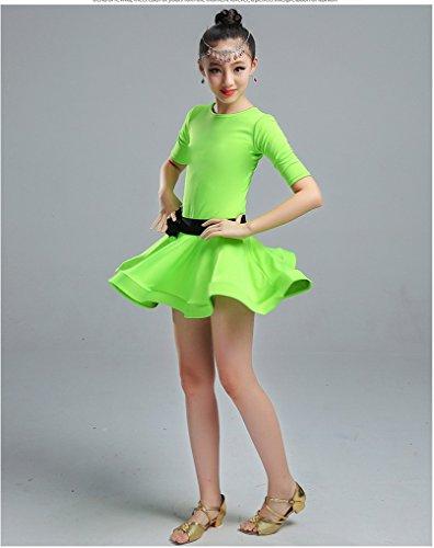 Latine 3 De Acmede Courte Motif Enfant Danse Avec 4 Fille Fleur Manche Exercice Spectacle Vert Short Robe Pour qtwf4w8