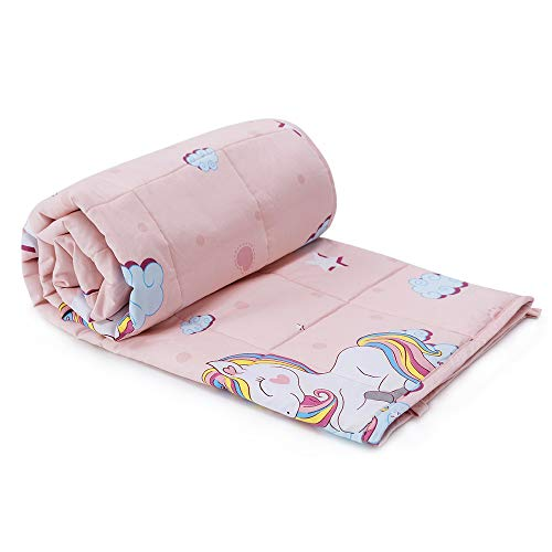 Anjee Kids Weighted Blanket 5lbs,100% Natural Cotton Heavy Blanket for Children,2.3kg 90 x 120cm Pink Rainbow Unicorn
