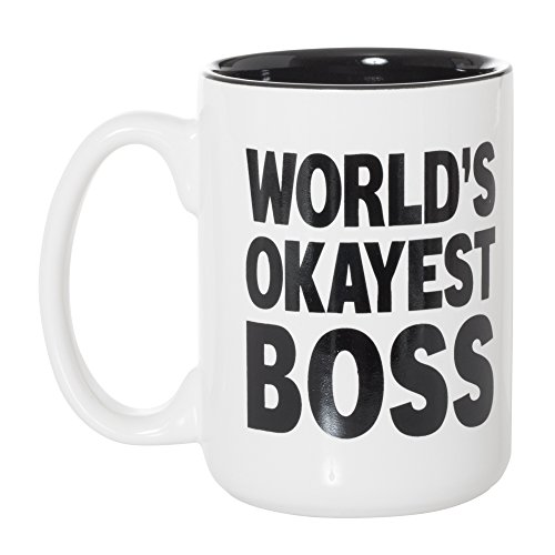 World's Okayest Boss Black Inlay Large 15 oz Double-Sided Coffee Tea Mug (World's Okayest Boss) (World's Best Boss Gifts)