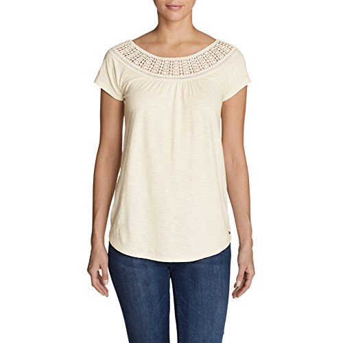 Eddie Bauer Women's Lola Short-Sleeve Lace Scoop-Neck Shirt, Ivory Regular L (Bauer Lace)