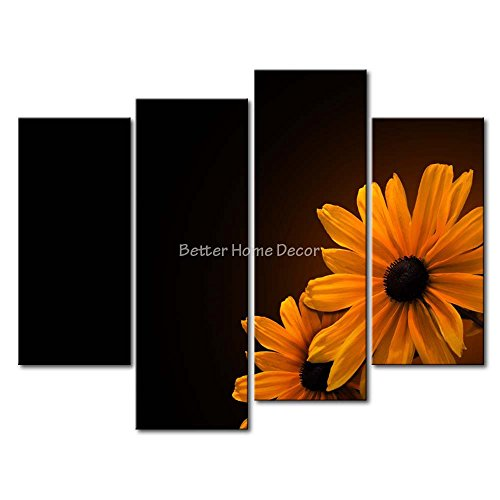 YEHO Art Gallery Painting Black-Eyed Susans Print On Canvas The Picture Flower Pictures Oil For Home Decoration Prints Decor ()