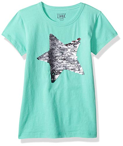 LOOK by Crewcuts Girls' Short Sleeve Flip Sequin Tee, Green Star, X-Small (4/5)