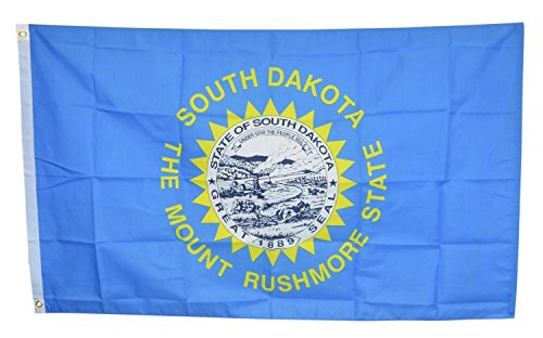 Shop72 US South Dakota State Flags - South Dakota Flag - 3x5' Flag From Sturdy 100D Polyester - Canvas Header Brass Grommets Double Stitched From Wind Side