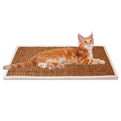 Treasborn Durable Cat Scratcher Thick Sisal Scratching Pad for Cats Anti-Slip Scratch Sleeping Mat No Mess Furniture Protecter Natural for - Cat Sisal