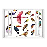 SCOCICI Removable Wall Sticker/Wall Mural/Flying Birds Decor,Colored Collection of Bird Set with Poly Design Triangle Mosaic Illustration for Living,Multi/Wall Sticker Mural