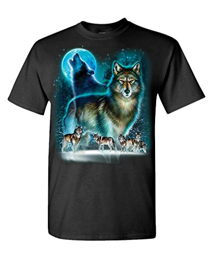 WOLF MOON SILHOUETTE native spirit animal - Mens Cotton T-Shirt, 2XL, Black