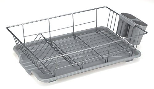Basicwise Steel Dish Rack with Plastic Drain board, Gray by Basicwise