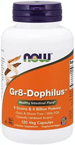NOW Supplements, Gr8-Dophilus™ with 8 Strains & 4 Billion Potency, Clinically Validated, 120 Veg Capsules