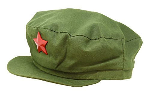 [Chairman Mao Zedong Adult Kids Costume Chinese Red Army Star Green Cap (Adult Size)] (Military Hat Costumes)