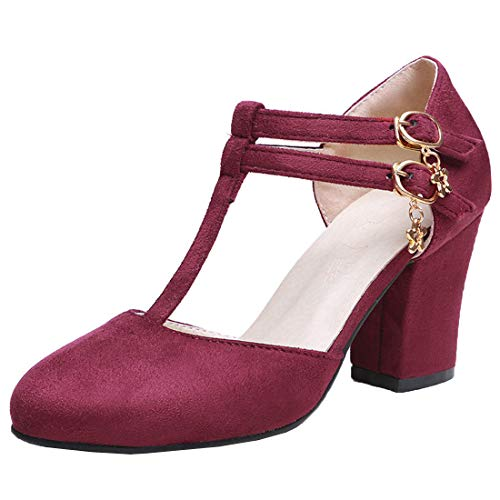 Vitalo Womens T Strap Pumps Block Heel Double Buckle Court Shoes Size 7.5 B(M) US,Wine