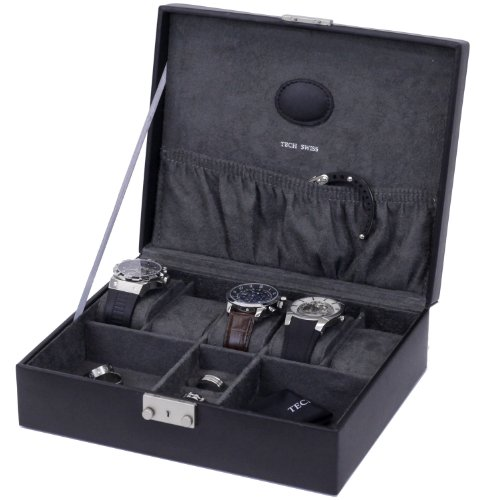 Paylak TS521BLK Black Leather Storage Valet Case for Watches and Jewelry Cuff Links