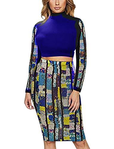 Women Two Piece Outfit - Long Sleeve Floral Crop Top Midi Skirt Set Dress Suit Party Clubwear Blue M ()