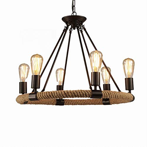 FGHOME Vintage Industrial Hemp Rope Living Room Chandelier Fixtures Retro Dining Room Pendant Lamp Bedroom Personality Ceiling Pendant Amiercan Country Rustic Ceiling Pendant Lights … (6 Heads)