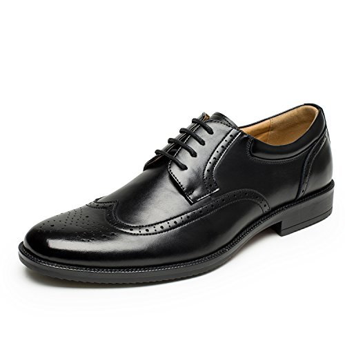 Men's Wingtip Brogue Dress Oxford Shoes Classic Modern Business Lace up Oxford Shoes Black Size 10