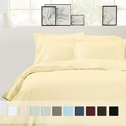California Design Den Pure Cotton King Duvet Cover - 100% Pure Cotton 3 Piece Sateen Bedding Set, 400 Thread Count Vanilla Yellow Quilt Cover and Two Pillow Shams, with Button Closure and Corner Ties (Light Yellow Comforter)