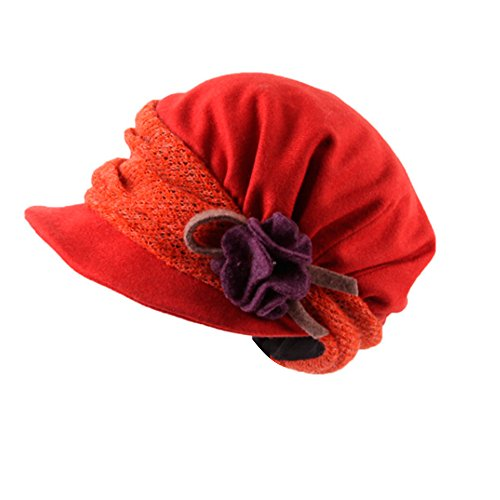 Vivobiniya Womens Fashion Wool Flower Berets Women Winter Hat Multicolor (orange)