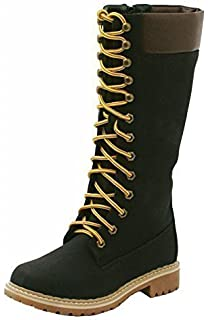 f9665d835a0 SHU CRAZY Womens Ladies Flat Rubber Grip Sole Fur Lined Lace Up Mid Calf Knee  High…