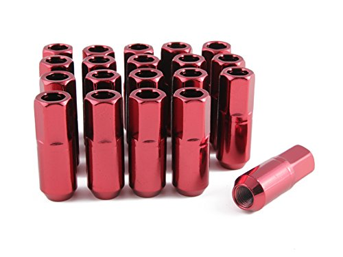 20pc Extended Tuner Race Red Lug Nuts - 12x1.25 Thread Size - Open End - Cone Conical Taper Acorn Seat (60 degree) - 2.4