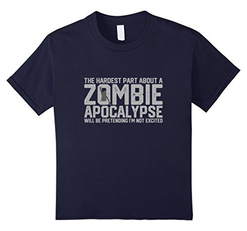 Apocalypse Themed Costume (Kids Zombie Apocalypse Tshirt Funny Halloween Gift Mens Womens 12 Navy)