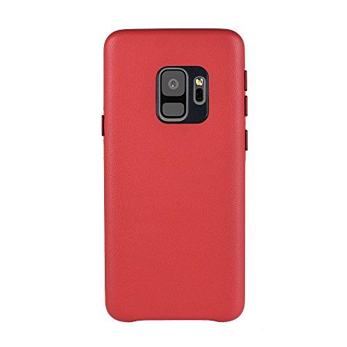 Docooler Cuero de PU Protector Carcasa de Telefono para Samsung Galaxy S9 rojo
