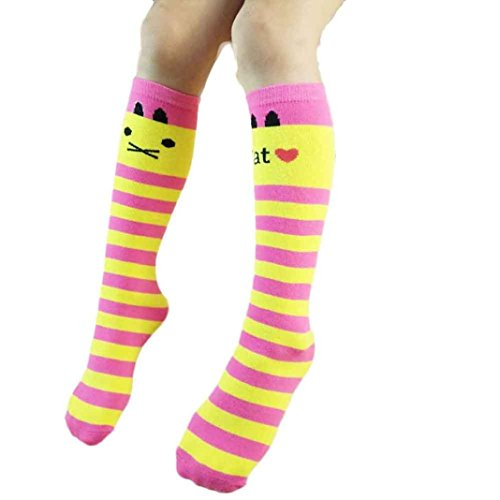 LUQUAN 1 Pair Kid Girls Cute Leg Warmers Colorful Stripe Cat Cotton Stockings Yellow