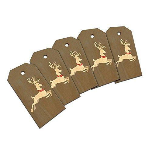 Prancing Reindeer Christmas Wooden Wood Gift Tag Set