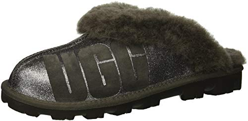 Sparkle Uggs Kids (UGG Women's W Coquette Sparkle Slipper, Charcoal, 7 M)
