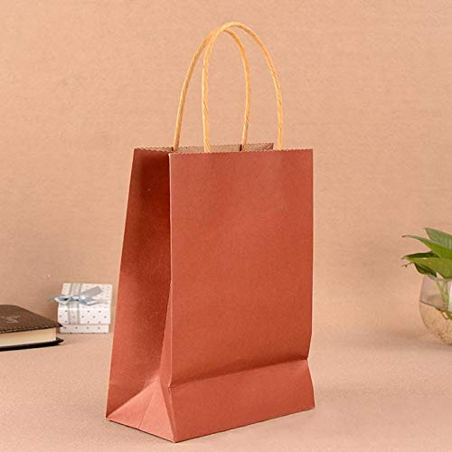 Taka Co Paper Bag Kraft Paper Bag With Handles Sweet Color For Halloween Wedding Birthday Party Jewelry Festival Gifts Candy Paper Bags-Red 27x21x11cm ()
