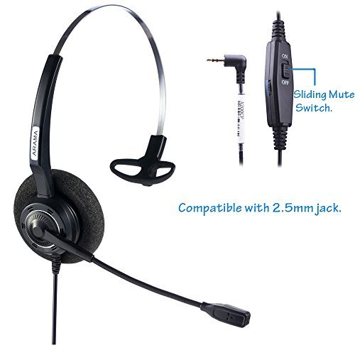Arama 2.5mm Telephone Headset Mono with BOOM Mic Volume Mute for Cisco Linksys SPA Polycom Panasonic Zultys Gigaset Grandstream Office IP and Cordless Dect Phones (CTH-J25)