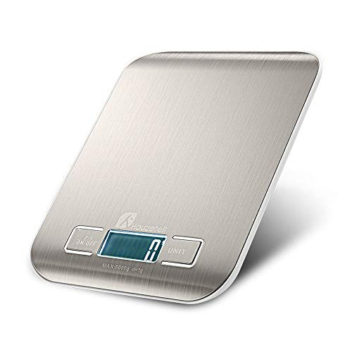 Digital Kitchen Scale, Multifunction Food Scale for Cooking, Easy to Clean, Stainless Steel Weight Scale with Large Display, 11 lb 5 kg(Batteries included)