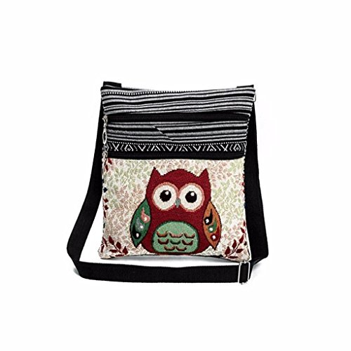 Bag Multicolor Tote Zipper B Package Cross Embroidered Soft Bag Shoulder Body Bags Women EUzeo Owl Double Linen Handbags Postman Printed qUwXgBWnf