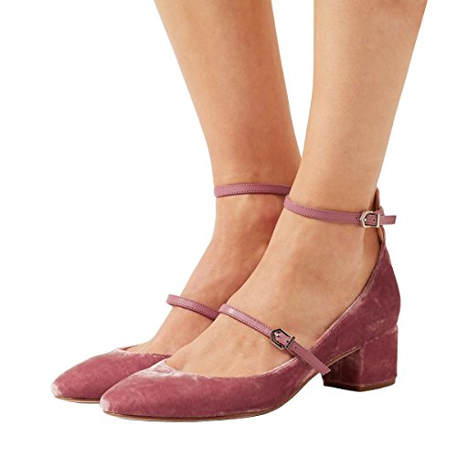 XYD Womens Retro Marry Jane Block Heel Pumps Velvet Ankle Strap Round Toe Dress Shoes Pink
