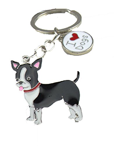 Chihuahua or Boston Terrier Enamel Dog Paw Charm Key Chain for The Dog Mom: